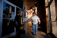 "CHAMPION, WI - DECEMBER 22: Mary Young, left, of Bear Creek Wis. and Debbie Banda, right, of Menasha Wis. smile as they leave the Shrine of Our Lady of Good Help in a small rural town in northern Wisconsin, December 22, 2010 in Champion, Wisconsin. After years of research, the Bishop of Green Bay determined that the sightings of Mary ""clothed in dazzling white"" are indeed ""worthy of belief"" and now have now been officially sanctioned as real by the Vatican. This shrine is the first of such for the United States and now joins the company of Lourdes and Fatima.   (Darren Hauck )"