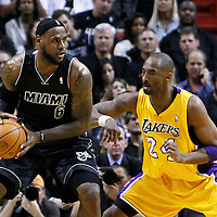 19 January 2012: Los Angeles Lakers shooting guard Kobe Bryant (24) defends on Miami Heat small forward LeBron James (6) during the Miami Heat 98-87 victory over the Los Angeles Lakers at the AmericanAirlines Arena, Miami, Florida, USA.