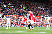 Wayne Rooney Forward of Manchester United shoots at goal during the Premier League match between Manchester United and Swansea City at Old Trafford, Manchester, England on 30 April 2017. Photo by Phil Duncan.
