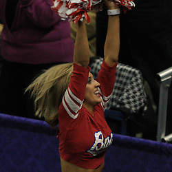 28 January 2009:  A New Orleans Bucs (Honeybee) cheerleader performs during a 94-81 win by the New Orleans Hornets over the Denver Nuggets at the New Orleans Arena in New Orleans, LA. The Hornets wore special throwback uniforms of the former ABA franchise the New Orleans Buccaneers for the game as they honored the Bucs franchise as a part of the NBA's Hardwood Classics series. .