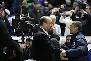 Newcastle United manager Rafa Benitez and Brighton Manager, Chris Hughton during the EFL Sky Bet Championship match between Brighton and Hove Albion and Newcastle United at the American Express Community Stadium, Brighton and Hove, England on 28 February 2017.