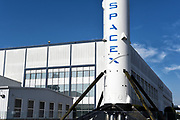 Closeup of a Falcon 9 Booster Rocket at Space Exploration Technologies Corp.