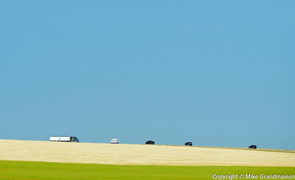 Vehicles on Highway 24<br /> Mossleigh<br /> Alberta<br /> Canada