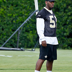 June 5, 2012; Metairie, LA, USA; New Orleans Saints linebacker Jonathan Vilma (51) during a minicamp session at the team's practice facility. Mandatory Credit: Derick E. Hingle-US PRESSWIRE