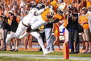 KNOXVILLE,TN - SEPTEMBER 19, 2015 -  running back Alvin Kamara #6 of the Tennessee Volunteers dives for a touchdown during the game between the Western Carolina Catamounts and the Tennessee Volunteers at Neyland Stadium in Knoxville, TN. Photo By Craig Bisacre/Tennessee Athletics