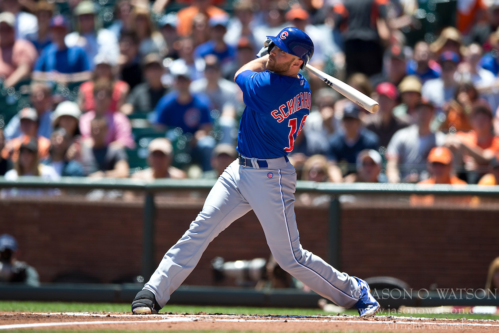 SAN FRANCISCO, CA - MAY 28:  Nate Schierholtz #19 of the Chicago Cubs at bat against the San Francisco Giants during the first inning at AT&T Park on May 28, 2014 in San Francisco, California.  The San Francisco Giants defeated the Chicago Cubs 5-0.  (Photo by Jason O. Watson/Getty Images) *** Local Caption *** Nate Schierholtz