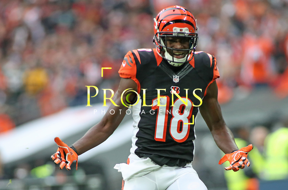 NFL International Series 2016 Washington Redskins @ Cincinnati Bengals 30th OCT 2016<br /> <br /> Cincinnati Bengals Wide Receiver A.J. Green (18)  during game 17 of the NFL International Series between the  Washington Redskins and Cincinnati Bengals, From Wembley Stadium, London.<br /> <br /> Pic Micthell Gunn / PLPA? ProLens Photo Agency.<br /> Sunday 30 October 2016