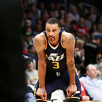 25 March 2016: Utah Jazz guard George Hill (3) rests during the Los Angeles Clippers 108-95 victory over the Utah Jazz, at the Staples Center, Los Angeles, California, USA.