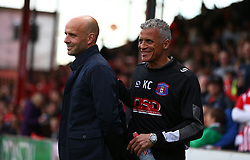 Exeter City manager Paul Tisdale and Carlisle United manager Keith Curle - Mandatory by-line: Gary Day/JMP - 18/05/2017 - FOOTBALL - St James Park - Exeter, England - Exeter City v Carlisle United - Sky Bet League Two Play-off Semi-Final 2nd Leg