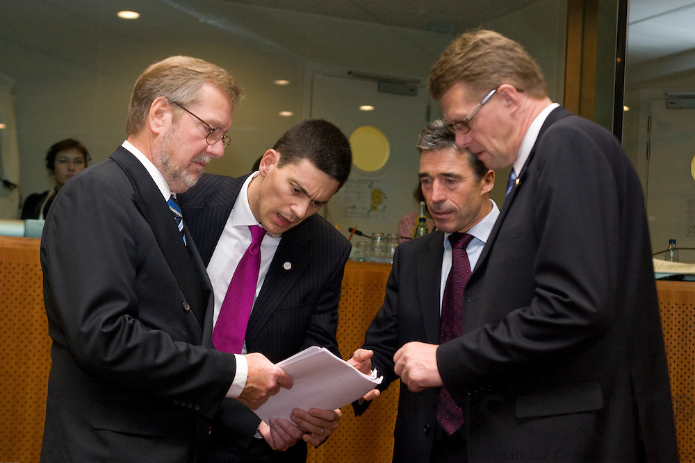 BRUSSELS - BELGIUM - 16 OCTOBER 2008 -- European Council, EU-summit under French Presidency; From left the Danish Minister for Foreign Affairs Per Stig MØLLER (Moller, Moeller) his british counterpart David MILIBAND, Prime Minister Anders Fogh RASMUSSEN and Matti VANHANEN, Finnish Prime Minister.  Photo: Erik Luntang.
