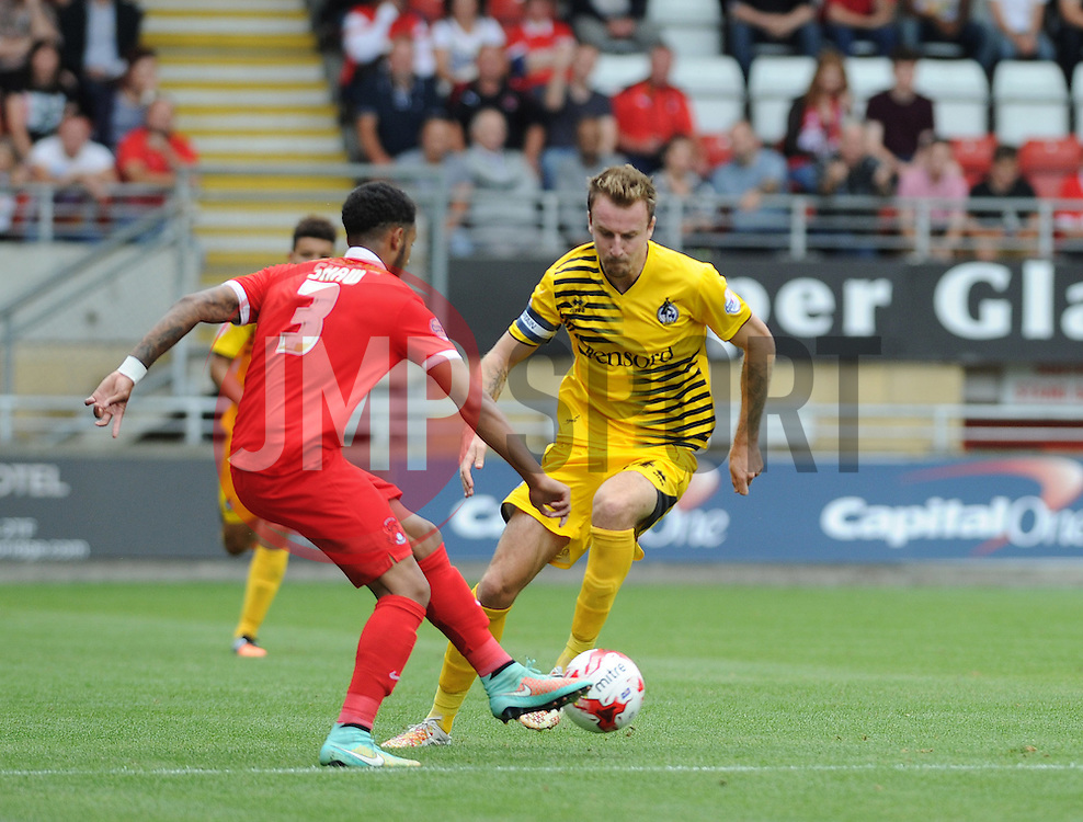 Chris Lines of Bristol Rovers challengesl Frazer Shaw of Leyton Orient - Mandatory byline: Neil Brookman/JMP - 07966386802 - 29/08/2015 - FOOTBALL - Matchroom Stadium -Leyton,England - Leyton Orient v Bristol Rovers - Sky Bet League Two