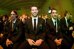 Bojan Jokic, Marko Suler, Bostjan Cesar and Branko Ilic at official presentation of Slovenian National Football team for World Cup 2010 South Africa, on May 21, 2010 in Congress Center Brdo at Kranj, Slovenia. (Photo by Vid Ponikvar / Sportida)