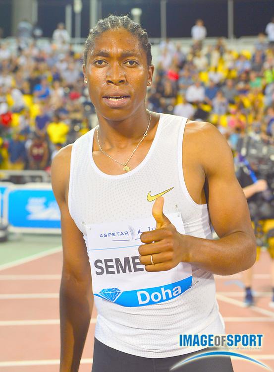 Caster Semenya (RSA) poses after winning the women's 1,500m in 3:59.92 in the 2018 IAAF Doha Diamond League meeting at Suhaim Bin Hamad Stadium in Doha, Qatar, Friday, May 4, 2018. (Jiro Mochizuki/Image of Sport)