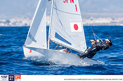 2016 470 European  Championship, Bay of Palma, Mallorca, Spain, 5-12 April 2016<br /> Featuring over 250 of the world's best 470 Men and Women Olympic Class sailors representing 33 nations<br /> ©Jesus Renedo/Sailing Energy/CNA