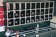 ANAHEIM, CA - MAY 4:  Baltimore Orioles bats, batting gloves, and batting helmets are ready for the game against the Los Angeles Angels of Anaheim on Saturday, May 4, 2013 at Angel Stadium in Anaheim, California. The Orioles won the game 5-4 in ten innings. (Photo by Paul Spinelli/MLB Photos via Getty Images)