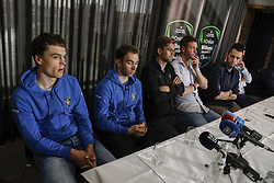 April 10, 2018 - Aarschot, BELGIUM - Belgian Stijn Steels of Sport Vlaanderen - Baloise, Belgian Sean De Bie of Verandas Willems - Crelan,Verandas Willems - Crelan sports director Kristof De Kegel, Verandas Willems - Crelan performance manager Michiel Elijzen, press officer Ward Callens and Verandas Willems - Crelan team director Nick Nuyens pictured during a press conference of cycling team Veranda's Willems-Crelan ahead of the 2018 edition of the one-day cycling race Brabant Arrow (Brabantse Pijl Fleche Brabanconne), Tuesday 10 April 2018. The team will be present at the start of the race with a silence minute in tribute to 23 years old cyclist Michael Goolaerts who died after Paris-Roubaix race on Sunday 8 April. BELGA PHOTO THIERRY ROGE (Credit Image: © Thierry Roge/Belga via ZUMA Press)