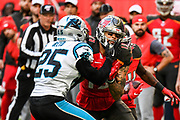 Carolina Panthers Defensive Back Eric Reid (25) tackles Tampa Bay Buccaneers Wide Receiver Mike Evans (13) during the International Series match between Tampa Bay Buccaneers and Carolina Panthers at Tottenham Hotspur Stadium, London, United Kingdom on 13 October 2019.