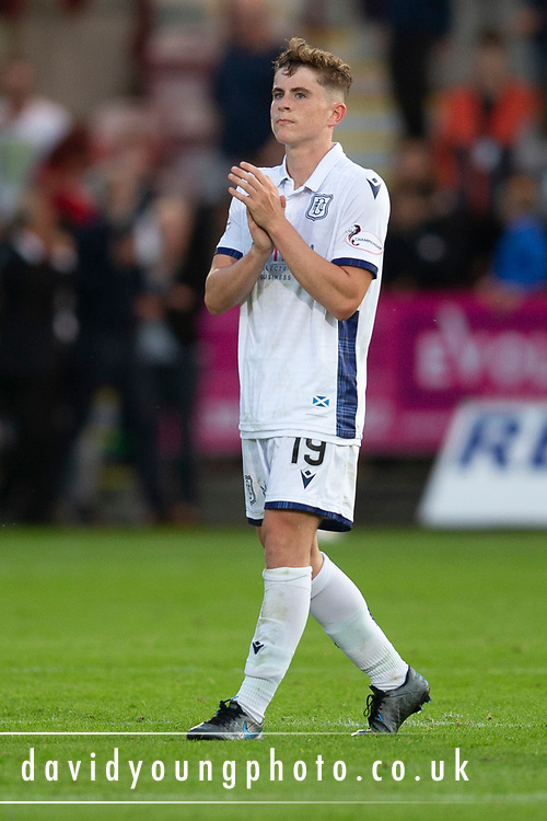 2nd Aug 2019, East End Park, Dunfermline, Fife, Scotland, Scottish Championship football, Dunfermline Athletic versus Dundee;  Finlay Robertson of Dundee applauds the fans at the end of the match
