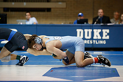 2017 February 08: Duke Blue Devils wrestling during a 25-15 loss to the the North Carolina Tar Heels at Card Gymnasium in Durham, NC.<br /> <br /> 125: Thayer Atkins (Duke) dec. James Szymanski (UNC), 6-5