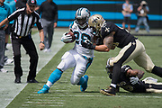 Jonathan Stewart(22) is pushed out of bounds by Manti Te'o(51) in the New Orleans Saints 34 to 13 victory over the Carolina Panthers.