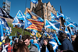 All Under One Banner Independence March, Edinburgh, Saturday 6th October 2018<br /> <br /> Pictured: Marchers gather at the start under Edinburgh Castle<br /> <br /> Alex Todd | Edinburgh Elite media