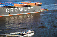 Aerial view of Crowley Cargo Container Along the Delaware River, outside of Philadelphia