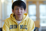 Tinggong Zhan, 19 years old, freshman, of Zibo, China talks in the admissions building at Grinnell College in Grinnell, Iowa on Tuesday February 1, 2011.