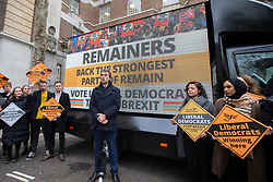© Licensed to London News Pictures. 10/12/2019. London, UK. Tom Brake, Liberal Democrat Shadow Brexit Secretary, launches the party's final campaign poster in Westminster. Photo credit: George Cracknell Wright/LNP