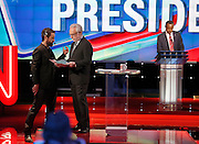 Moderator Wolf Blitzer and US Republican Presidential Candidate, Ben Carson  during the Republican Presidential Debate at the University of Houston in Houston, Texas on February 25, 2016.