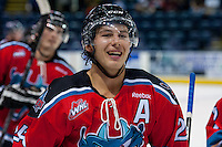KELOWNA, CANADA - AUGUST 30:  Tyson Baillie #24 of the Kelowna Rockets celebrates a goal against the Kamloops Blazers on August 30, 2014 during pre-season at Prospera Place in Kelowna, British Columbia, Canada.   (Photo by Marissa Baecker/Shoot the Breeze)  *** Local Caption *** Tyson Baillie;