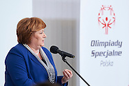Anna Komorowska First Lady of Republic Poland speaks during 30 years anniversary of The Special Olympics Poland at Presidential Palace in Warsaw on March 18, 2015.<br /> <br /> Poland, Warsaw, March 18, 2015<br /> <br /> For editorial use only. Any commercial or promotional use requires permission.<br /> <br /> Mandatory credit:<br /> Photo by © Adam Nurkiewicz / Mediasport