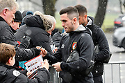 (Caption correction) Lewis Cook (16) of AFC Bournemouth signing his autograph for fans as he arrives at the Vitality Stadium as light snow falls before the Premier League match between Bournemouth and West Bromwich Albion at the Vitality Stadium, Bournemouth, England on 17 March 2018. Picture by Graham Hunt.