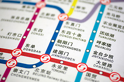Detail of network map of Beijing subway lines in China 2009