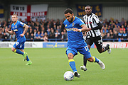 AFC Wimbledon striker Andy Barcham (17) dribbling during the EFL Sky Bet League 1 match between AFC Wimbledon and Rochdale at the Cherry Red Records Stadium, Kingston, England on 30 September 2017. Photo by Matthew Redman.