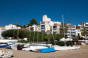 Boats on the beach at Sant Pol de Mar, Catalonia
