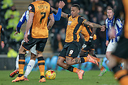Abel Hernández (Hull City) takes a shot which is saved by the keeper during the Sky Bet Championship match between Hull City and Sheffield Wednesday at the KC Stadium, Kingston upon Hull, England on 26 February 2016. Photo by Mark P Doherty.