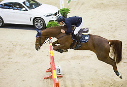 Colombo Alessandro of Italy with horse Qui Vive Platiere jumps during Equestrian competition  FEI Grand Prix World Cup Celje 2014, on November 30, 2014 in Equestrian Centre Celje, Slovenia. Photo by Vid Ponikvar / Sportida