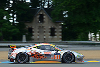 Weng Sun Mok (MYS) Keita Sawa (JPN) Robert Bell (GBR) #61 Clearwater Racing Ferrari 458 Italia,  during Le Mans 24 Hr June 2016 at Circuit de la Sarthe, Le Mans, Pays de la Loire, France. June 15 2016. World Copyright Peter Taylor/PSP. Copy of publication required for printed pictures.  Every used picture is fee-liable. http://archive.petertaylor-photographic.co.uk