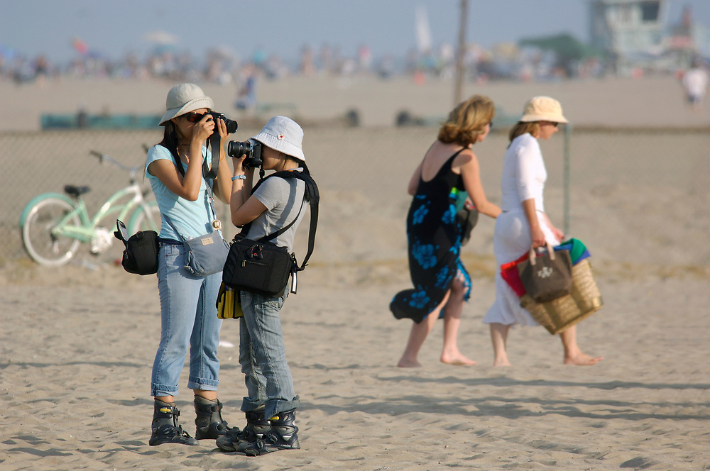 taking pictures, Santa Monica Beach, Santa Monica, Los Angeles, California, United States of America