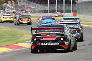 Chris Pither (Superblack Racing Ford) leads the start. 2016 Clipsal 500 Adelaide. V8 Supercars Championship Round 1. Adelaide Street Circuit, South Australia. Saturday 5 March 2016. Photo: Clay Cross / photosport.nz