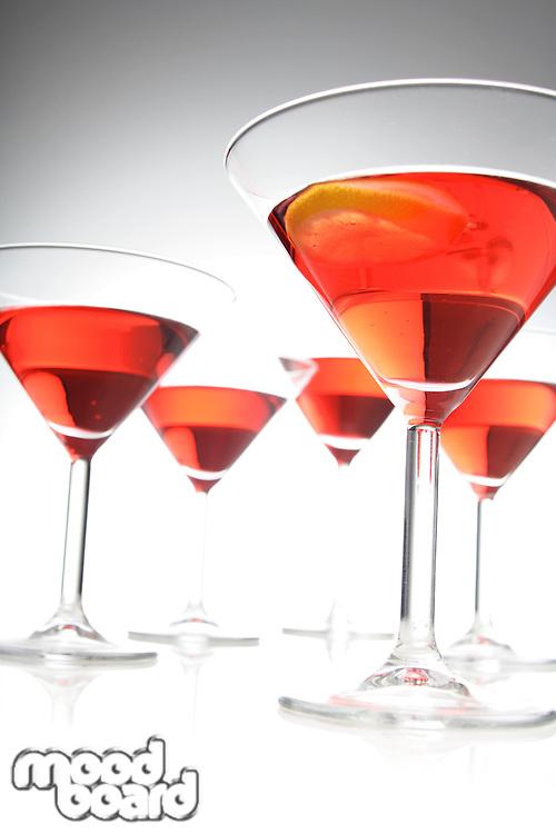 Studio shot of drinks in martini glass