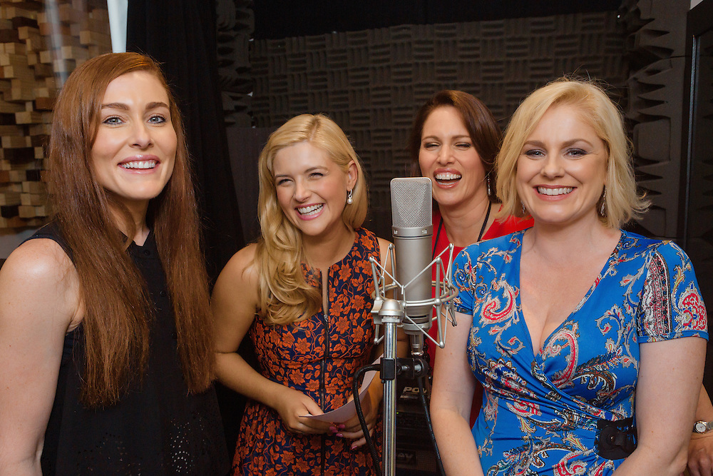 Images of Helen Dallimore, Gemma Rix, Lucy Durack and Amanda Harrison at Kings X Music studio, recording promotions for Witches with the Sydney Symphony Orchestra.<br /> <br /> Photos by Robert Catto, taken on Friday 29  April, 2016.