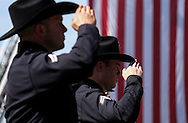 Police and firefighters salute as the hearse carrying the body of Whittier Police Officer Keith Boyer arrives at Rose Hills Memorial Park in Whittier, Calif., Friday March 3, 2017. Boyer, who was fatally shot after responding to a traffic crash, was remembered today by thousands of law enforcement officers, friends and family as a dedicated public servant, talented drummer, loving friend and even a ``goofy'' dad.(Photo by Ringo Chiu/PHOTOFORMULA.com)<br /> <br /> Usage Notes: This content is intended for editorial use only. For other uses, additional clearances may be required.