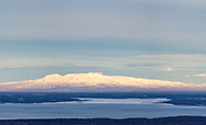 Panorama of morning light on Sleeping Lady (Mount Susitna) in Southcentral Alaska. Spring.