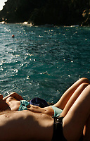 on the rocky beach, Manarola, Cinqueterre, Italy..photo by Owen Franken ..