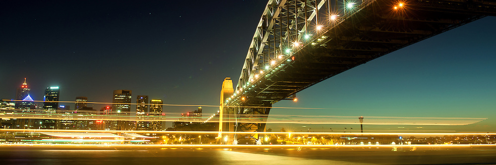 Sydney Harbour Bridge Night Scenery in Panorama