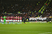 A minutes silence in respect of remembrance day  during the EFL Sky Bet Championship match between Derby County and Aston Villa at the Pride Park, Derby, England on 10 November 2018.