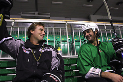 Head coach Mike Posma and player Frank Banham of Canada at second ice hockey practice of HDD Tilia Olimpija on ice in the new season 2008/2009, on August 19, 2008 in Hala Tivoli, Ljubljana, Slovenia. (Photo by Vid Ponikvar / Sportal Images)