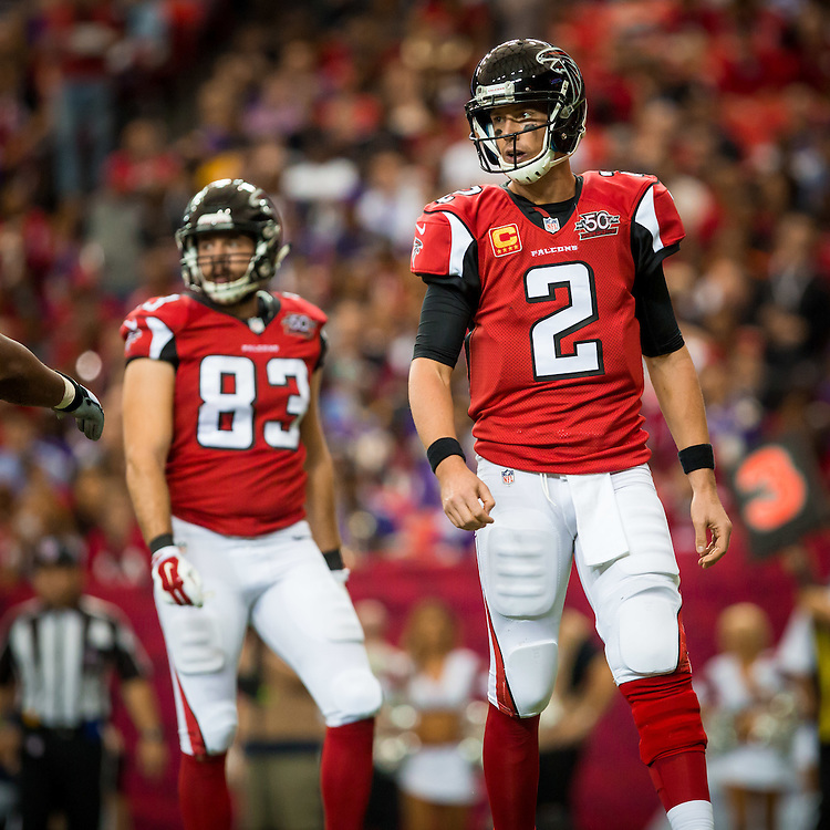 Atlanta Falcons quarterback Matt Ryan during the game between the Minnesota Vikings and the Atlanta Falcons on Sunday, Nov. 29, 2015 at the Georgia Dome. The Falcons lost 20-10, going to 6-5 on the season. Photo by Kevin D. Liles