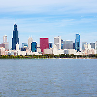 Chicago downtown skyline and lakefront with Willis Tower (Sears Tower) and many other popular buildings and skyscrapers. Photo is high resolution and was taken in October 2011.